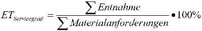 Formel zur Ermittlung des Ersatzteilservicegrads