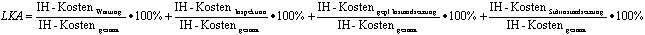 Formel zur Ermittlung der Leistungskostenanteile in der Instandhaltung